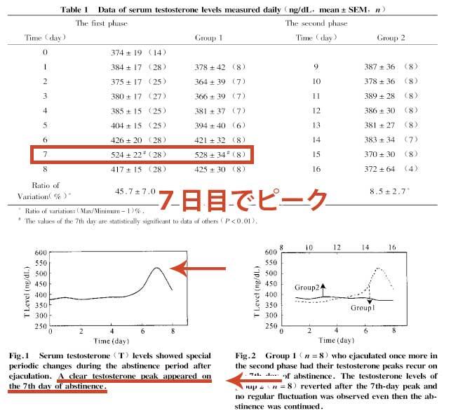 オナ禁日数とテストステロン値の関係