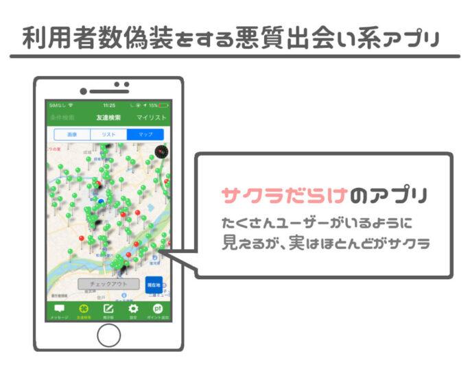 サクラがたくさんいるGPS機能付き出会い系アプリ