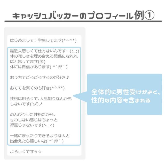 キャッシュバッカーのプロフィール例①